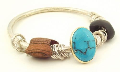 Turquoise bangle large stone silver and gold with wooden beads 4mm rod